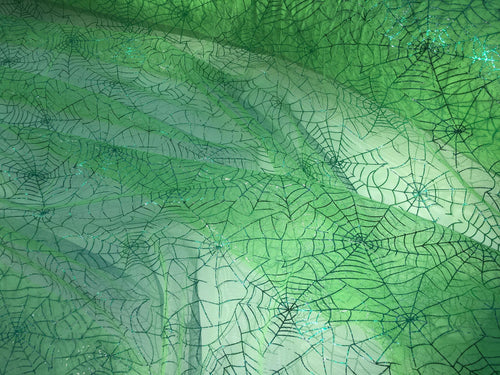 Retail- Poly Tulle - Spider web-green foil on green (#73)