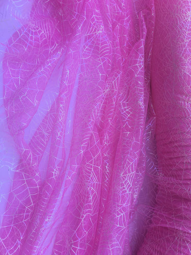 Retail- Poly Tulle - Spider web-GLOW IN THE DARK-Iridescent on pink (#65)