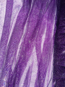 Retail- Poly Tulle - Spider web-GLOW IN THE DARK-Iridescent on purple (#76)