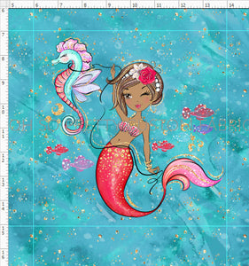 Retail Mermazing Teal Brown girl and seahorse panel