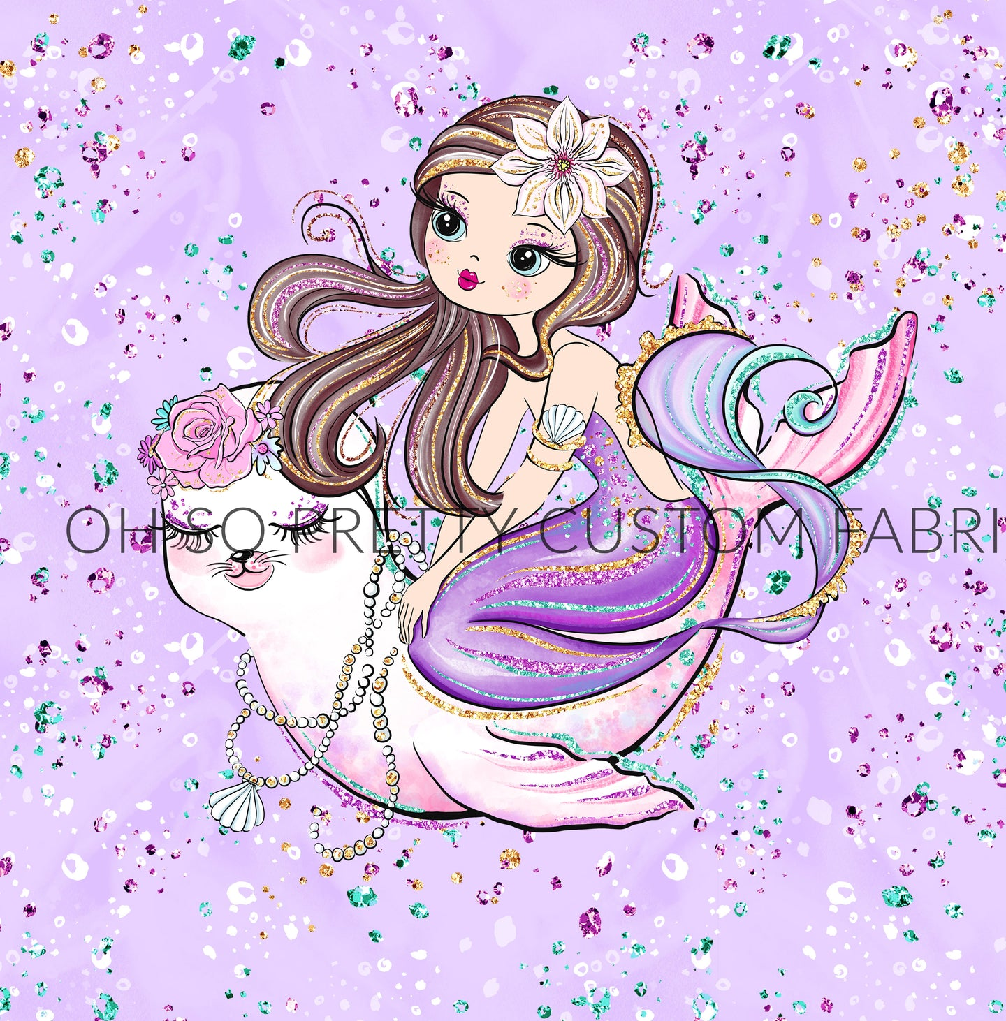 Retail Mermazing Purple Brunette Girl Panel