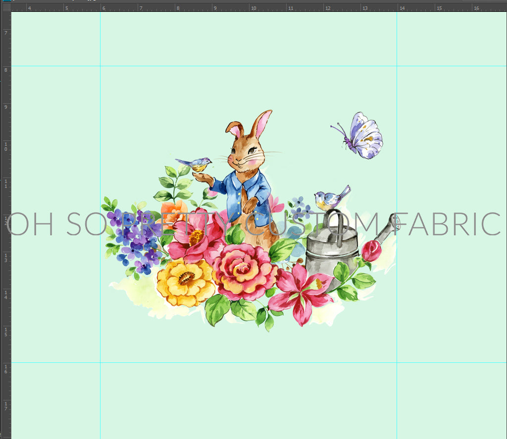 Retail Storybook Rabbit Mint Panel Butterfly