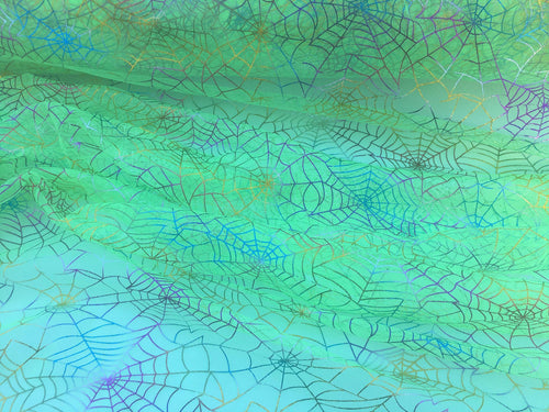 Retail- Poly Tulle - Spider web-multicolor foil on green (#73)