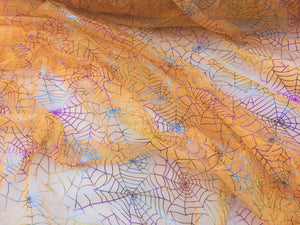 Retail- Poly Tulle - Spider web-multicolor foil on orange (#80)