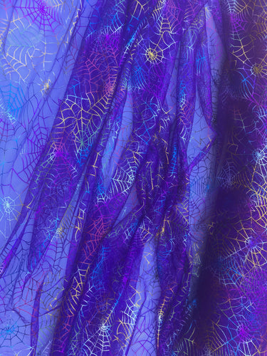 Retail- Poly Tulle - Spider web-multicolor foil on purple (#76)
