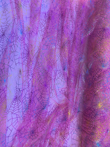 Retail- Poly Tulle - Spider web-multicolor foil on pink (#65)