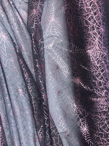 Retail- Poly Tulle - Spider web-pink foil on black (#1)