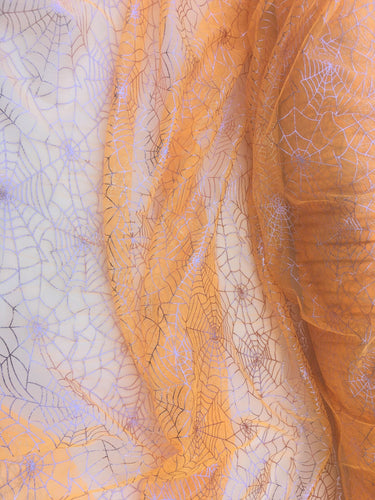 Retail- Poly Tulle - Spider web-pink foil on orange (#80)