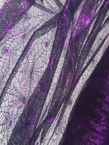 Retail- Poly Tulle - Spider web-purple foil on black (#1)