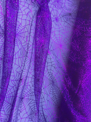 Retail- Poly Tulle - Spider web-purple foil on purple (#76)