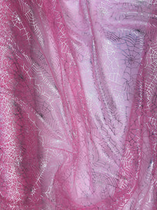 Retail- Poly Tulle - Spider web-Silver foil on pink (#65)