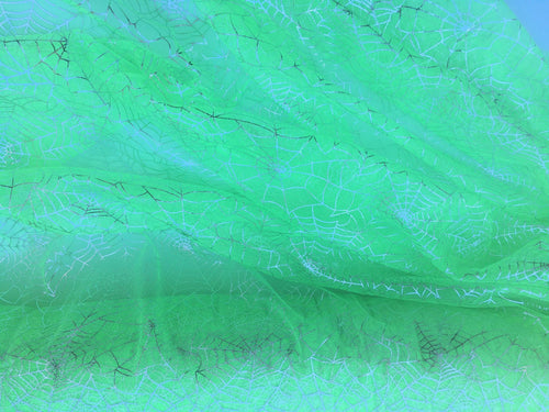 Retail- Poly Tulle - Spider web-silver foil on green (#73)