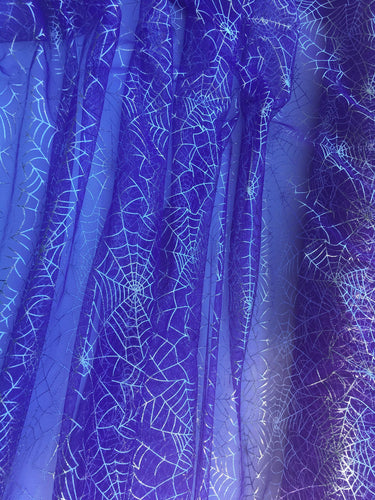 Retail- Poly Tulle - Spider web-silver foil on purple (#76)