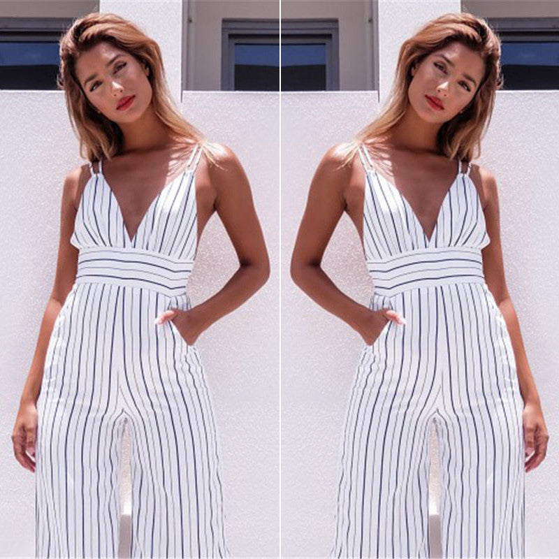 STRIPED BODYCON JUMPSUIT