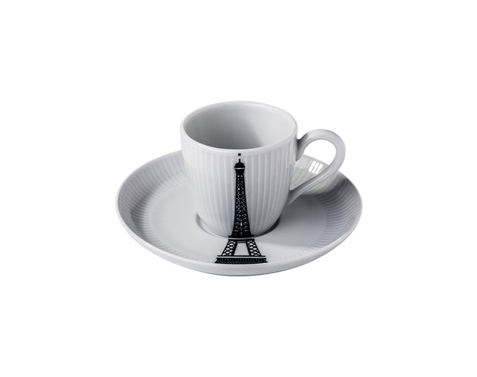 Ville de Paris, Plissé Eiffel Tower Espresso Cup and Saucer, Set of 4