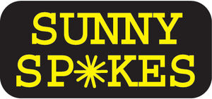Sunny Spokes logo in yellow font with spoke-burst.