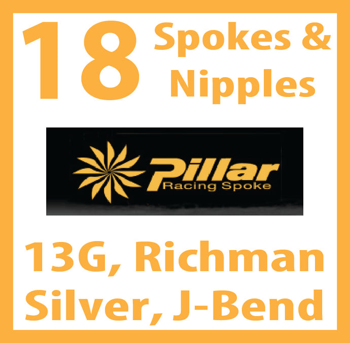 13 Gauge, Pillar Richman, Silver, 18 Spokes with Silver Nipples