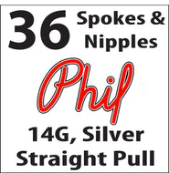 Phil Wood Straight Pull, Silver, 36 Spokes and Nipples