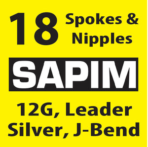 12 Gauge, Sapim Leader, Silver, 18 Spokes with Silver Nipples