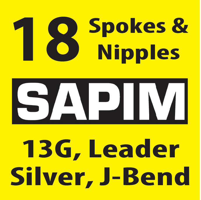 13 Gauge, Sapim Leader, Silver, 18 Spokes and Nipples