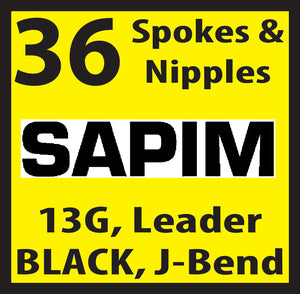 13 Gauge, Sapim Leader, Black, 36 Spokes and Nipples