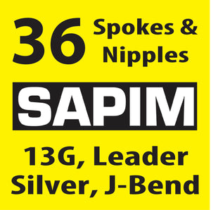 13 Gauge, Sapim Leader, Silver, 36 Spokes and Nipples