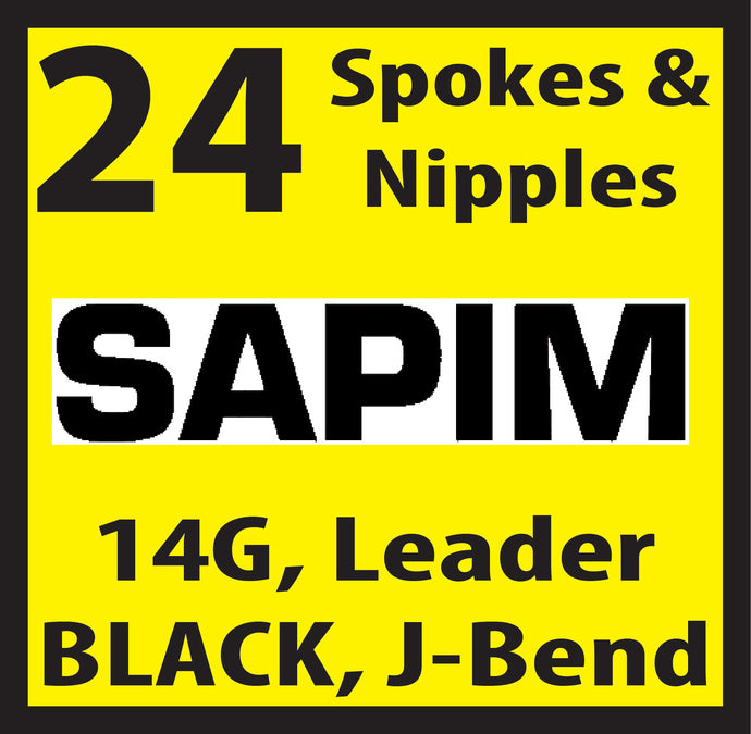 Sapim Leader, Black, 24 Spokes and Nipples