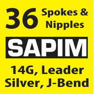 Sapim Leader, Silver, 36 Spokes and Nipples