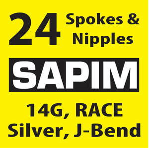 Sapim Race, Silver, 24 Spokes and Nipples