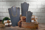 Large Distressed Black Wooden Neck Forms