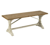 Antiqued Wooden French Farmhouse Bench