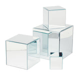 Square Glass Mirror Risers - Set of 4