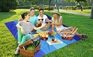 "Beach Blanket, Sandproof Beach Mat 79"" X 83"" for 4-7 Adults Waterproof Quick Drying Outdoor Picnic Mat for Travel, Camping, Hiking"