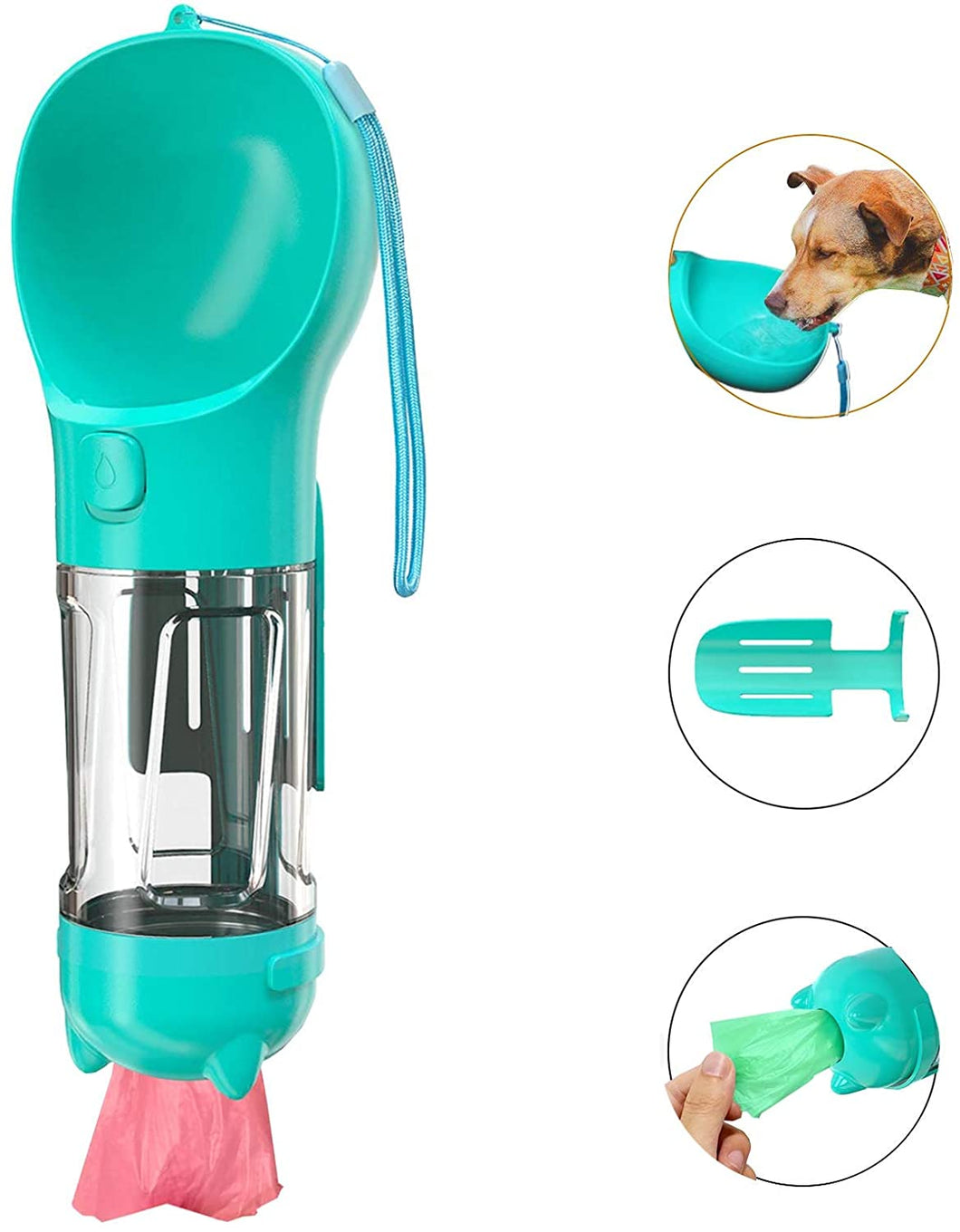 Portable Dog Water Bottle for Walking with Poop Bag and Scooper Pet Travel Water Dispenser Leak Proof BPA Free Drinking Bowl for Large Medium Small Dogs. Camping Hiking Travelling