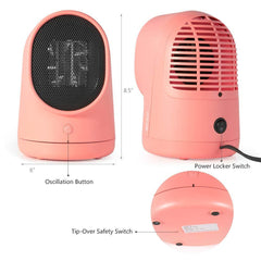 XPRIT Desktop/Floor Space Heater, Ceramic Heater w/Auto Oscillating (Pink) - HoverBoard4sale
