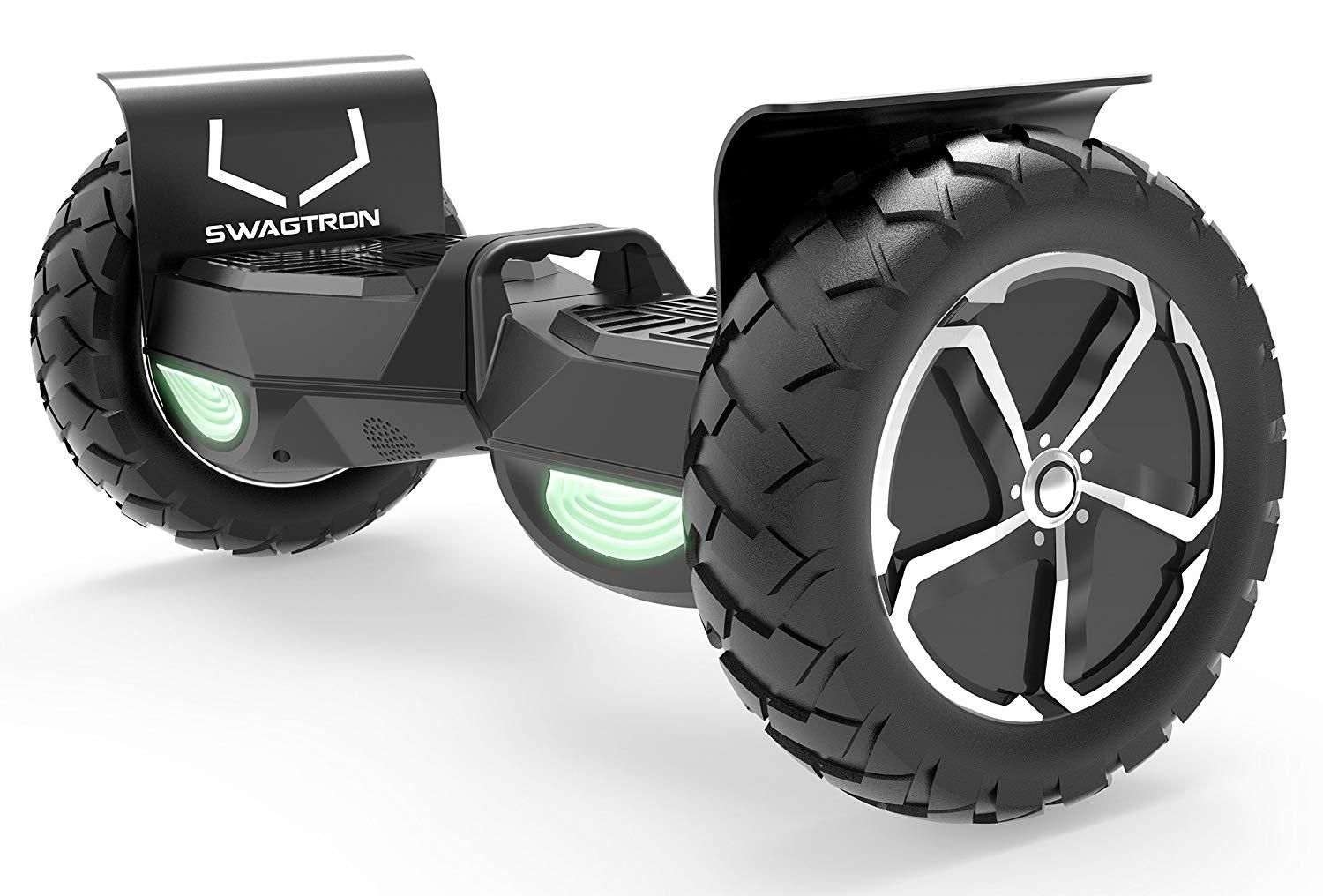 "SWAGTRON T6 Off-Road Hoverboard - First in the World to Handle Over 380 LBS, Up to 12 MPH, UL2272 Certified, 10"" Wheel (Black)"