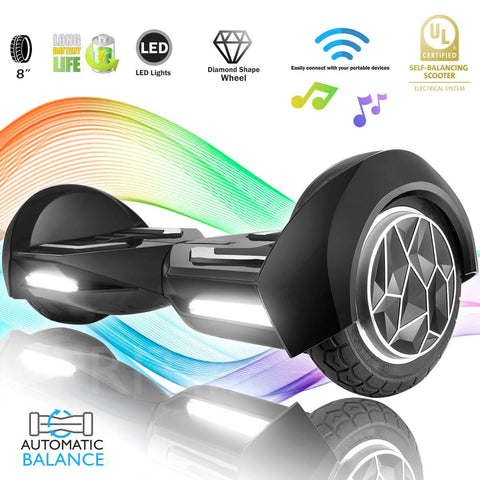 "XPRIT 8"" Black Self-Balancing Hoverboard Outdoor and Street Type w/Bluetooth Speaker - HoverBoard4sale"