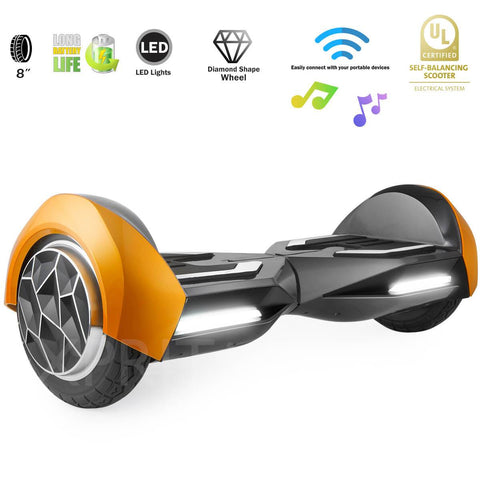 "XPRIT 8"" Gold Self-Balancing Hoverboard Outdoor and Street Type w/Bluetooth Speaker - HoverBoard4sale"