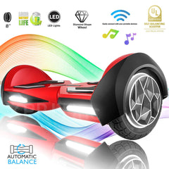 "XPRIT 8"" Red Self-Balancing Hoverboard Outdoor and Street Type w/Bluetooth Speaker - HoverBoard4sale"