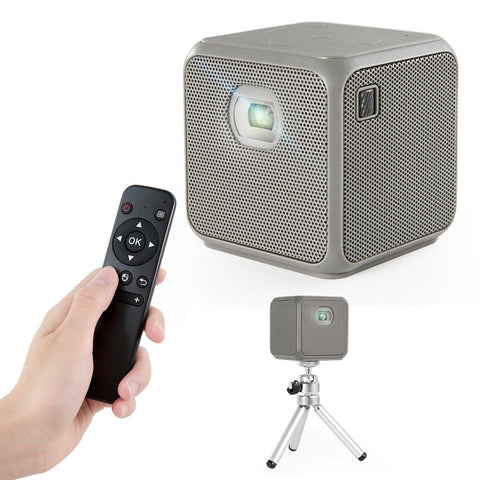 XPRIT Camping Portable Smart Cube Projector with Wi-Fi & Bluetooth, 50 ANSI, Android 7.1, Remote Control Included ( Gray )
