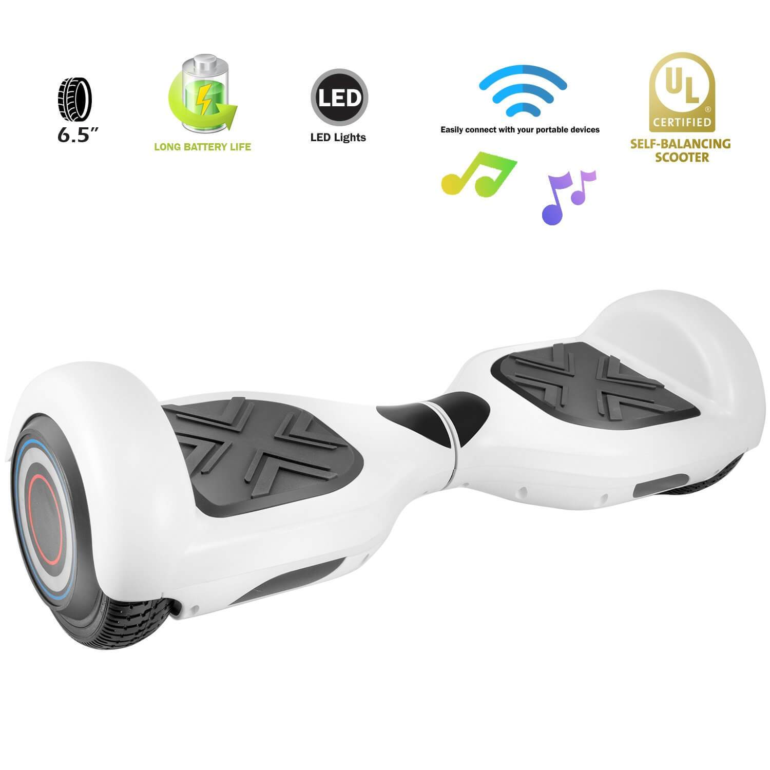 XPRIT SBW666 White Hoverboard with Bluetooth - HoverBoard4sale