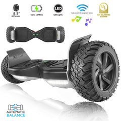 "XPRIT 8.5"" Wheel Hoverboard w/Bluetooth, All Terrain With LED Wheel (Black) - HoverBoard4sale"