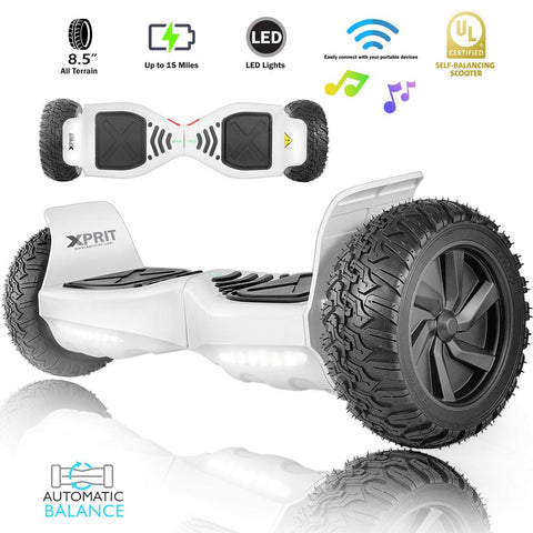 "XPRIT 8.5"" Wheel Hoverboard w/Bluetooth, All Terrain With LED Wheel (White) - HoverBoard4sale"