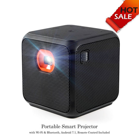 XPRIT Camping Portable Smart Cube Projector with Wi-Fi & Bluetooth, 50 ANSI, Android 7.1, Remote Control Included ( Black ) - HoverBoard4sale