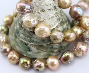 Large peach pearl necklace