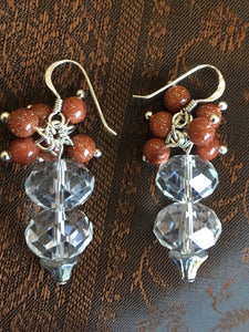 Crystals and goldstone earrings