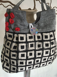 Silk bag with rose flowers