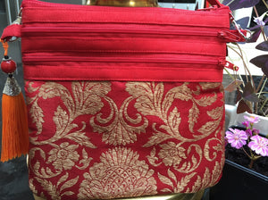 Red brocade shoulder bag