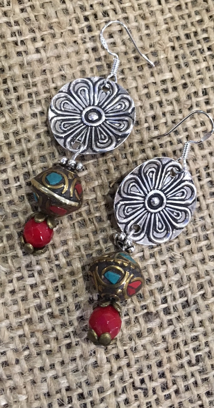 Silver and Tibetan bead earrings