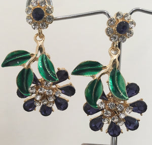 Floral indigo crystal earrings